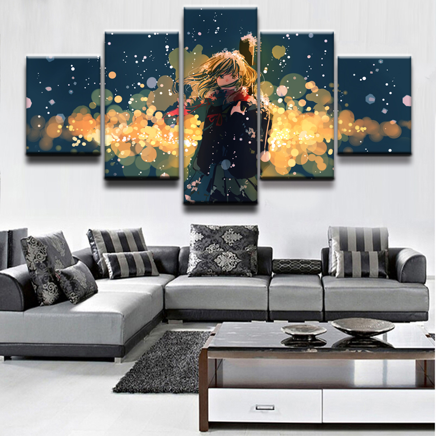 Your Lie in April Anime Wall Art Canvas Painting HD Print 5 Piece Canvas Wall Art For Living Room Painting Home Decor Picture in Painting Calligraphy from Home Garden