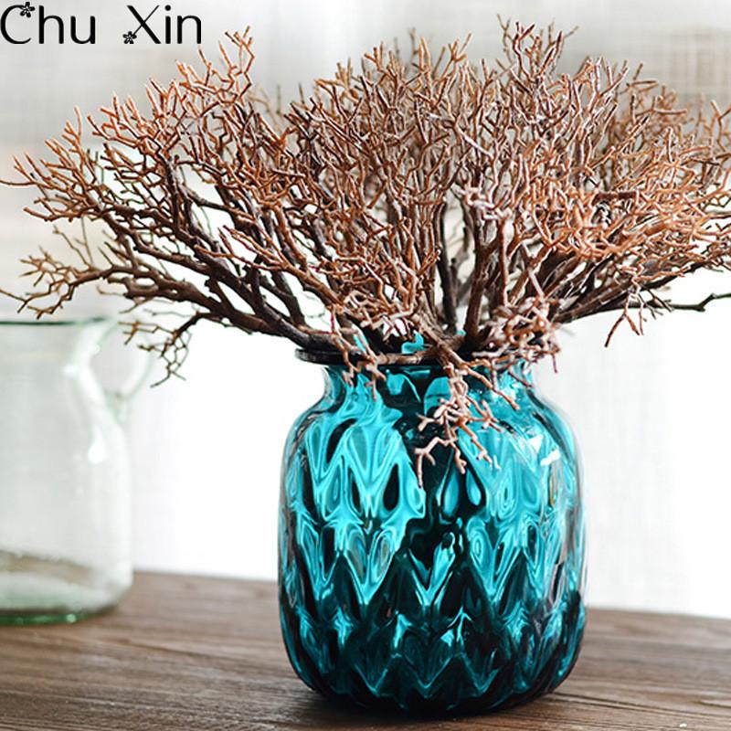 hermosa madera de color blanco plantas de plstico secas ramas de coral artificial flor casa