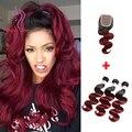 7а Бордовый Бразильские Волосы Девственницы Объемная Волна 3 Шт. С Закрытием Ombre Бразильский Волос Weave Связки Красный Ломбер Бразильские Волосы