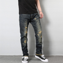 Japanese Style Fashion Men's Jeans High Quality Cotton Straight Fit Destroyed Jeans Men Broken Pants Vintage Ripped Jeans Homme 2017 men s fashion straight black jeans men s pants with high quality 100% cotton jeans loose style jeans men super size 32 48