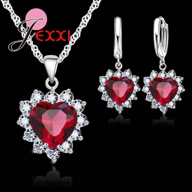 New Fashion 925 Sterling Silver  Cubic Zirconia Necklace Loop Earring Jewelry Sets Romantic Heart Lover Wedding Gifts