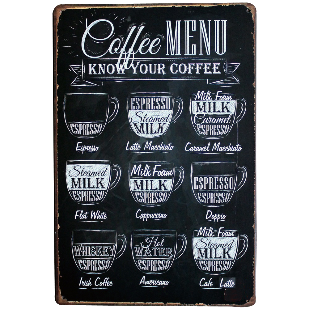 COFFEE MENU Decor Metal Tin Sign Vintage Coffee Plaque Menu Board for ESPRESSO AMERICANO LATTE