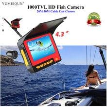 """20 м 30 М HD 1000TVL рыболокатор подводная камера для подледной рыбалки 4,"""" монитор 8 светодиодный ИК Видео подводная камера для рыбалки"""