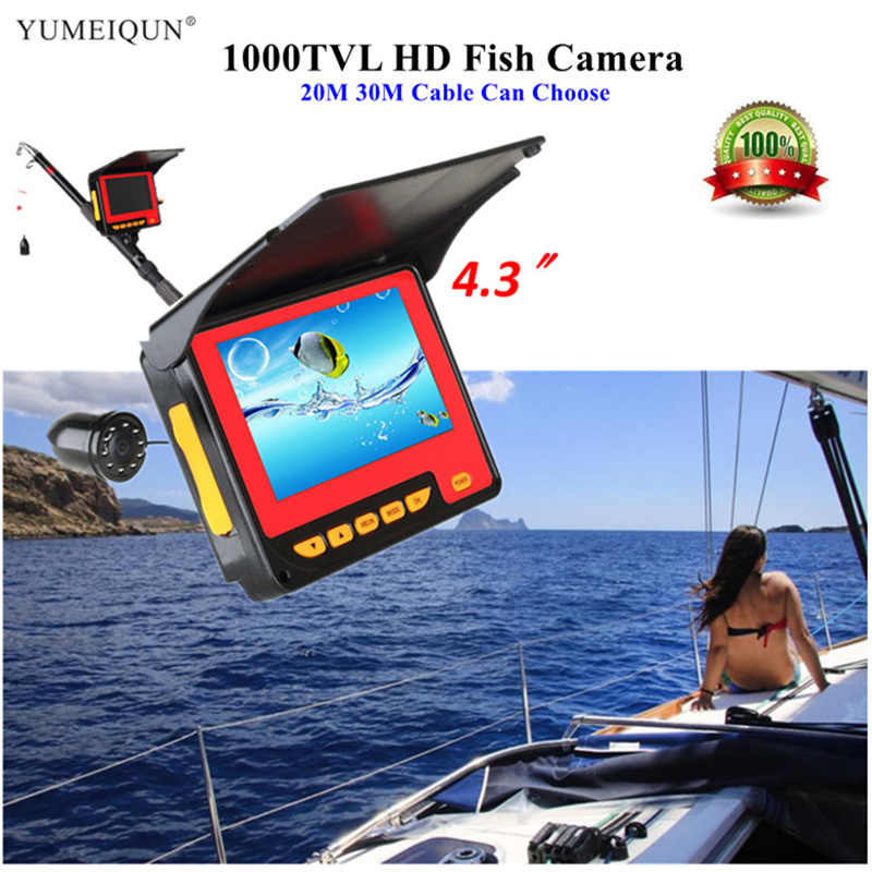 "20M 30M HD 1000TVL Fish Finder Underwater Ice Fishing Fish Camera 4.3"" Monitor 8 LED IR Video Underwater Camera For Fishing"
