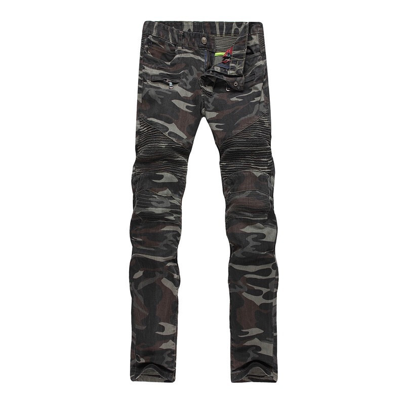 New Men Camouflage Biker Jeans Army Slim Fit Straight Moto Denim Trousers Military Style Stretchy Jeans  With Zipper Pants 2017 fashion patch jeans men slim straight denim jeans ripped trousers new famous brand biker jeans logo mens zipper jeans 604