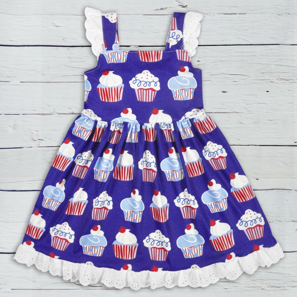 4th Of July Girl Boutique Dress Children Sleeveless Cotton Dress Baby Remake Clothes Girls Dresses LYQ903-621