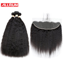Allrun Indian 3 Bundles Kinky Straight With 13*4 Ear To Ear Lace Frontal Human Hair Extensions 4 Pcs/lot Non Remy Hair Weave