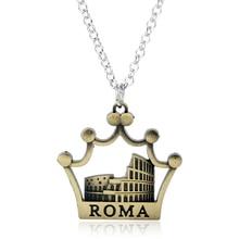 db7fbcd3c251 De moda de Roma Coliseo encanto de Metal de moda collar de bronce Colosseo  colgante de forma de corona gargantilla collares de c.