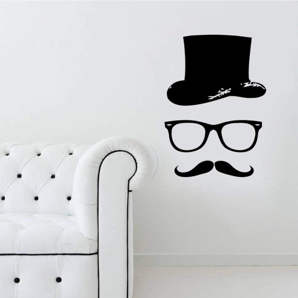Wallpaper iphone kumis - Wallpaper Iphone Kumis Baru Kedatangan Topi Kumis Kaca Dinding Dekorasi Seni Mural Lucu Ruang Tamu