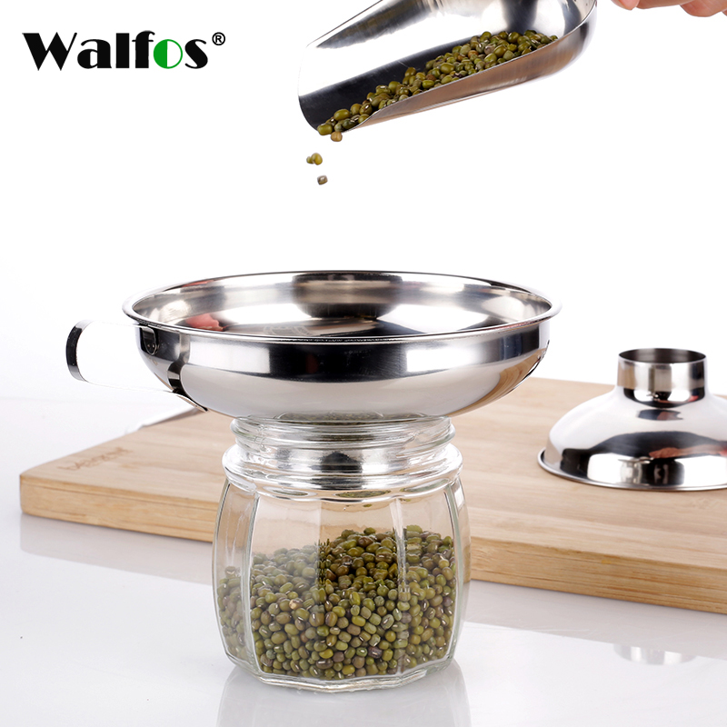 WALFOS Durable Stainless Steel Wide Mouth Canning Funnel Hopper Filter Kitchen Cooking Tools Gadgets S/L Sizes funnle