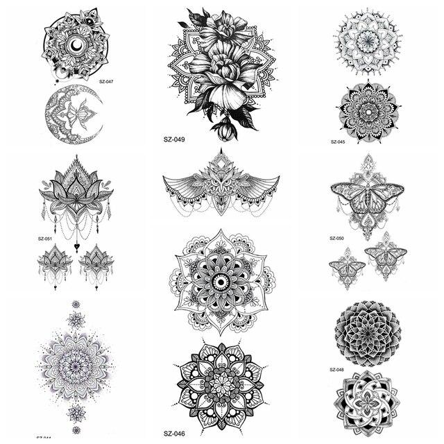 25 Estilo Negro Henna Flora Temporal Tatuaje Pegatinas Mujeres Brazo