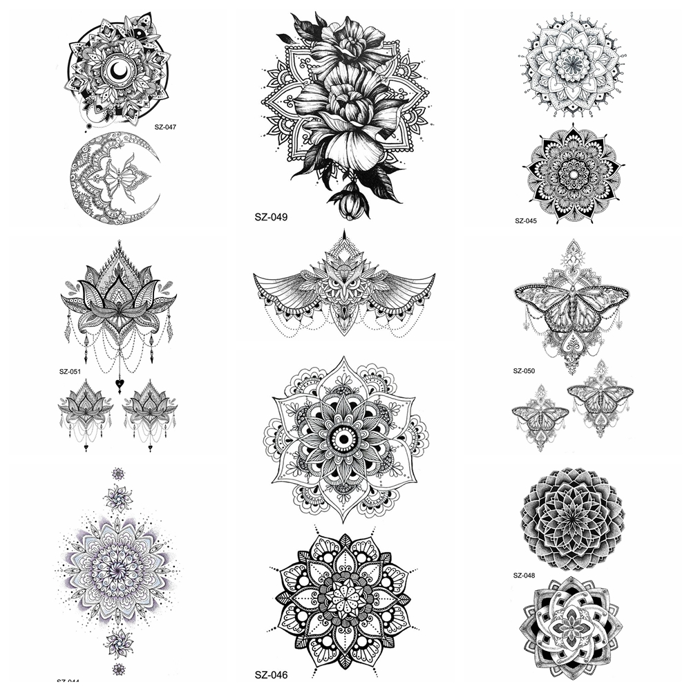 25 Style Black Henna Flora Temporary Tattoo Stickers Women Arm Pendants 3D Waterproof Ear Tatoos Mandala Flower Fake Tattoo Girl