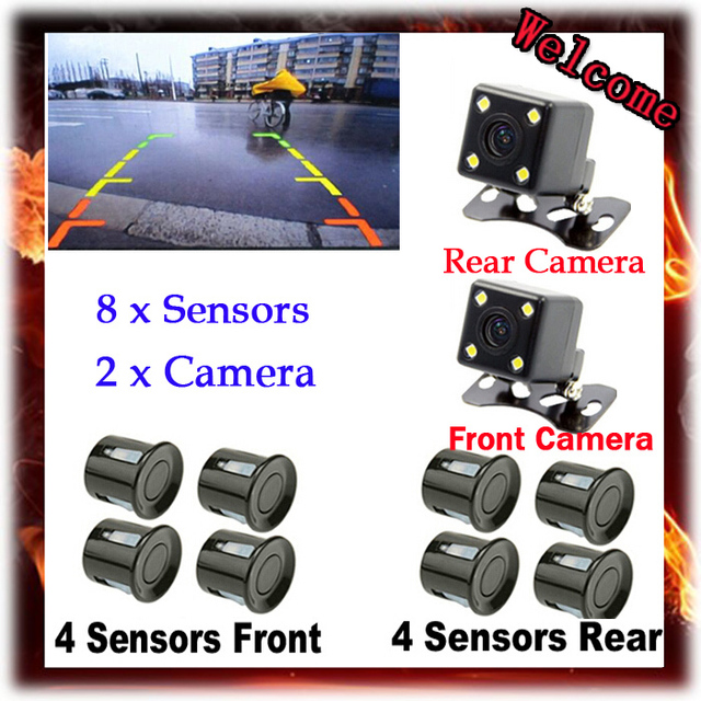 Double Probe, Double Visual, Visual Reversing Radar Parking 8 Sensor, Front Rear Cameras, Voice Alarm and Digital Distance