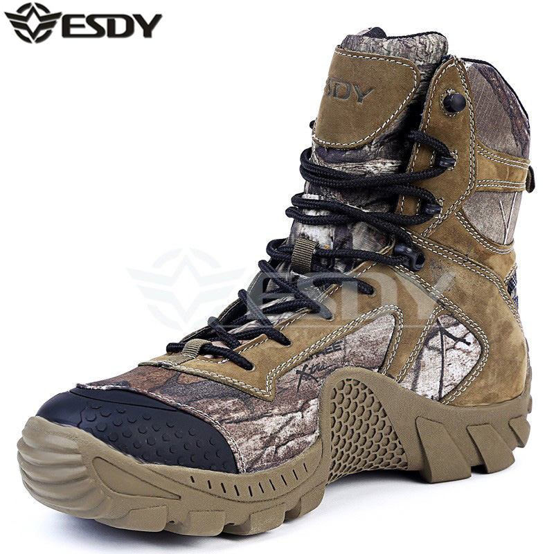 Men's Outdoor High Top Waterproof Camouflage Hiking Boots Shoes Men Military Tactical Camping Sports Shoes winter men s outdoor warm cotton hiking sports boots shoes men high top camping sneakers shoes chaussures hombre