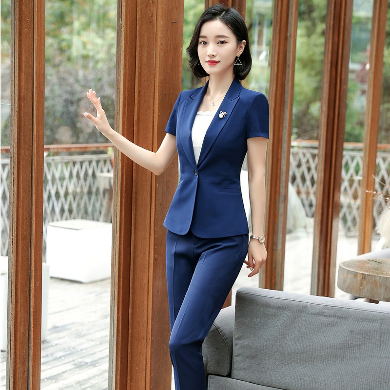 Navy Blue New Styles Formal Pantsuits Summer Short Sleeve Business Suits With Tops And Pants Ladies Female Trousers Sets