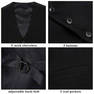 Image 4 - Мужской свадебный деловой костюм с жилетом, приталенный Повседневный смокинг, модный однотонный жилет