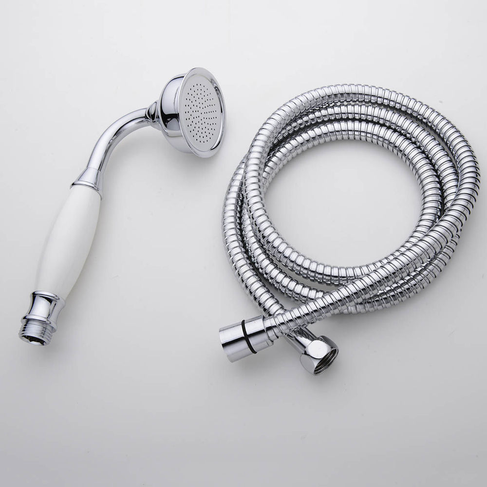 Single Chrome Telephone Style Rainfall Shower Head & 1.5m Hose Set ...