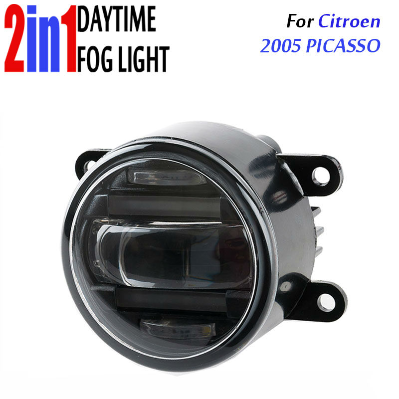 for Citroen Picasso 2005 3.5 90mm Round LED Fog Light Daytime Running Lamp Assembly LED Chips Fog Lamp DRL Lighting Lens