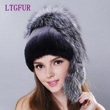 LTGFUR Winter woman rex rabbit fur hat with whole fox fur top 2018 new knit fur