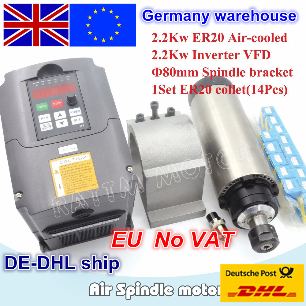 EU free VAT 2.2KW Air-cooled spindle motor ER20 & 2.2kw VFD Inverter 220V & 80mm Clamp & 1set ER20 collet 14pcs for CNC Router free shipping cnc spindle 2 2kw 220v 110v air cooled spindle motor machine 80mm er20 collet router tools for milling