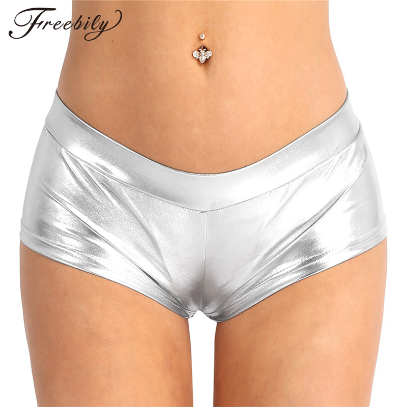 Freebily Adult Women Fashion Sexy Night Club Shorts Shiny Faux Leather Low Waist Hot Shorts For Dancing Raves Festivals Costumes