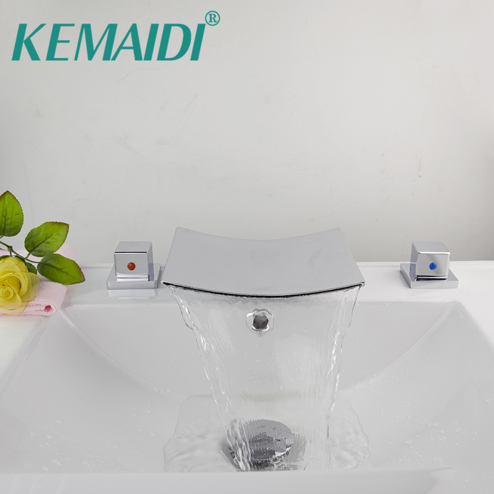 KEMAIDI Solid Brass Bathtub Faucet Bath Tub Mixer Waterfall Faucet Spout Deck Mounted Bath Shower Mixer Taps