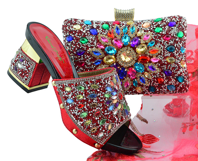 Red stones clutches bag and slippers shoes set newest fashion 2018 italian shoes and bag to match women size 38 to 43 SB8160-6 стойка под штанги для 4 шт x line хr407