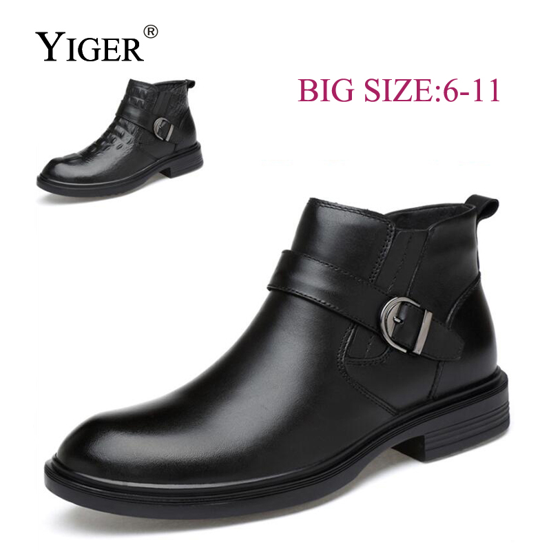 YIGER новый человек мотоботы зимние сапоги из натуральной кожи с мехом мужские полусапоги мужские ботинки martin круглый носок черные туфли 0146
