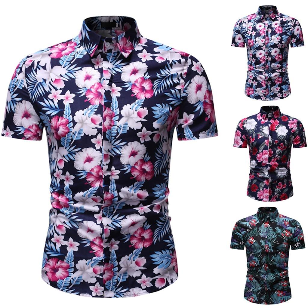 Men Shirts Summer Hawaiian Shirt New Style Printed Short-Sleeved Fashion Slim Fit Blouse Top High Quality Beach Wearing Camiseta