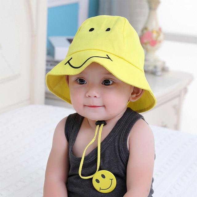 21f3a2a032d Baby smile face fisherman hat girl travel visor child sunscreen sun cap  children cartoon basin cap summer kids head wear