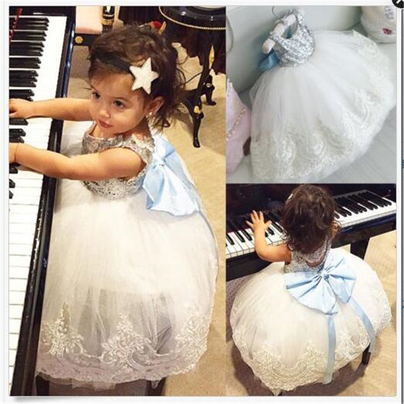 kids Sleeveless Summer Princess Baby Girls Clothes Infant Party Dress Birthday Frock Newborn Toddler Girl Gown Bowknot Lace 2016 baby girl flutter sleeves summer birthday princess dress cotton frock designs teen kids clothing bulk clothes teenagers