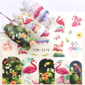 Image 2 - 1pc Water Nail Stickers Decal Marine Life Flamingo Leaf Transfer Nail Art Decorations Slider Manicure Watermark Foil Tips