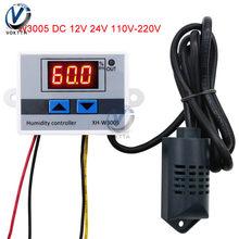 W3005 XH-W3005 12 v 24 v ac 110 v-220 v led controlador de umidade digital higrômetro sensor de controle de umidade hygrostat 0 rh 99% rh