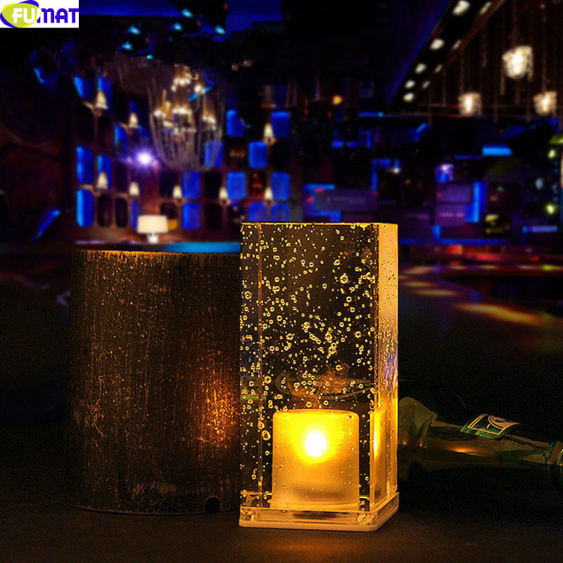 ФОТО Custom Sqaure ABS Crystal LED Night Light Bar Table Lamp Charging Nightlight Colorful Romantic Cafe Restaurant KTV Desk Lamp