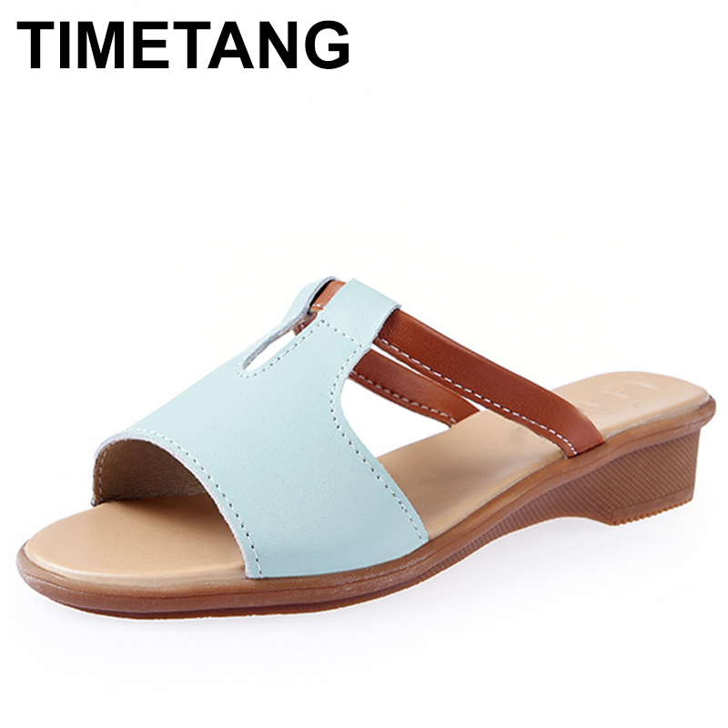 TIMETANG Summer Style Women Shoes Genuine Leather Casual Cool Slippers Female Flat Sandals New Soft Bottom Beach Slippers C193 artmu fashion women sandals shoes hollow breathable handmade genuine leather shoes woman beach shoe soft bottom 2018 summer new