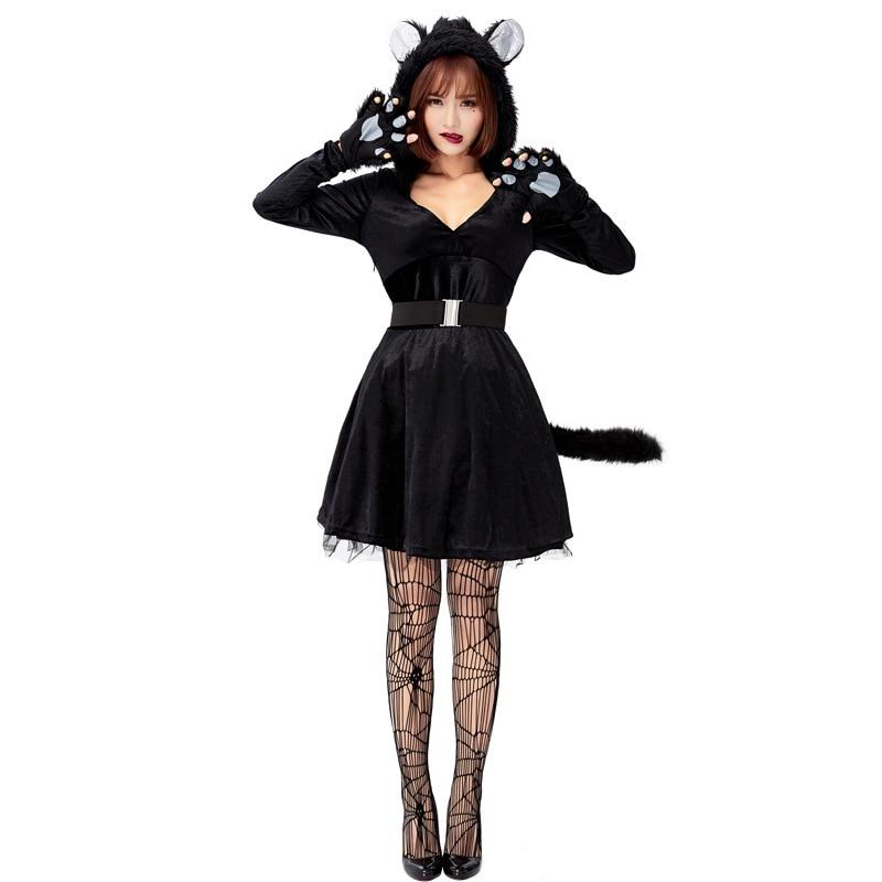New Arrival Women Black Cat Costume Halloween For Adult