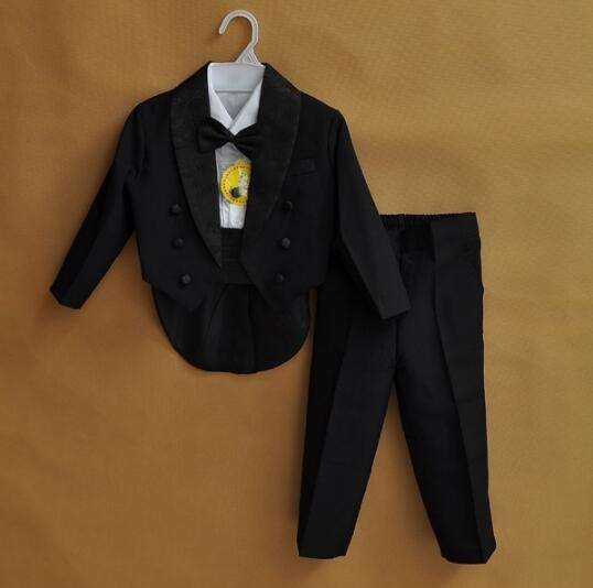 Kids Children Black White Formal Boys Wedding Tuxedo Suits
