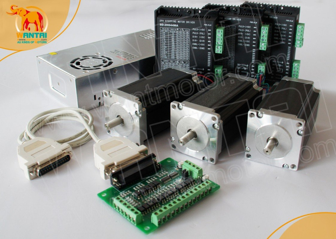 <font><b>3</b></font> <font><b>Axis</b></font> <font><b>CNC</b></font> <font><b>Mill</b></font> Nema 23 wantai Stepper Motor 270OZ-In,<font><b>3</b></font>.0A Control & 4.2A/50V/125Microstep <font><b>Kit</b></font> image