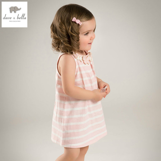 DB4957 dave bella summer baby girl sweet dress baby pink white stripes  dress kids casual clothes