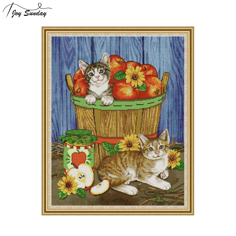 Joy Sunday Cats and Fruits Pattern Needlework Counted Cross Stitch Kits Printed Fabric 14CT 11CT Canvas Aida DMC Embroidery Kits in Package from Home Garden