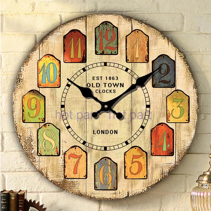 nuova legno grande annata orologio da parete rustico shabby chic cucina casa antico stile europeo orologio da parete creativo impermeabile caldo in nuova