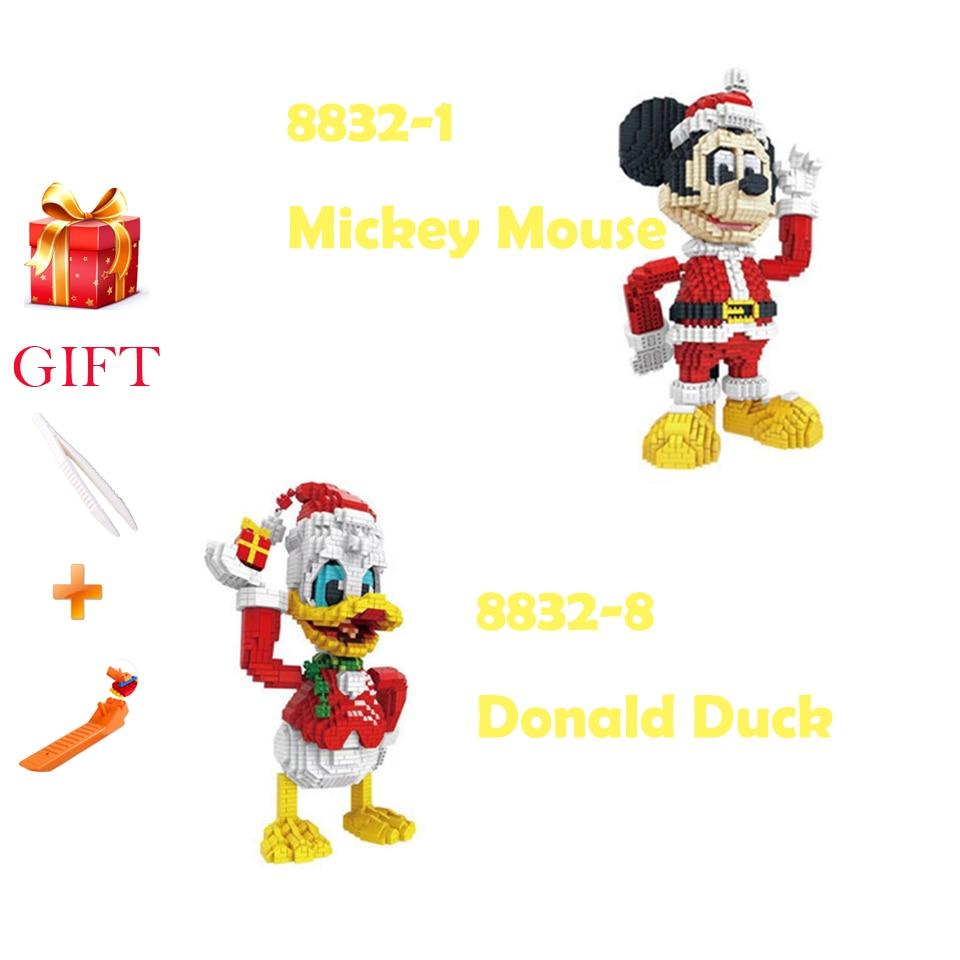 Drôle classique Legoed Mickey souris chiffres blocs de construction jouets dessin animé Image Micro Donald canard Nanoblock éducatif enfants briques
