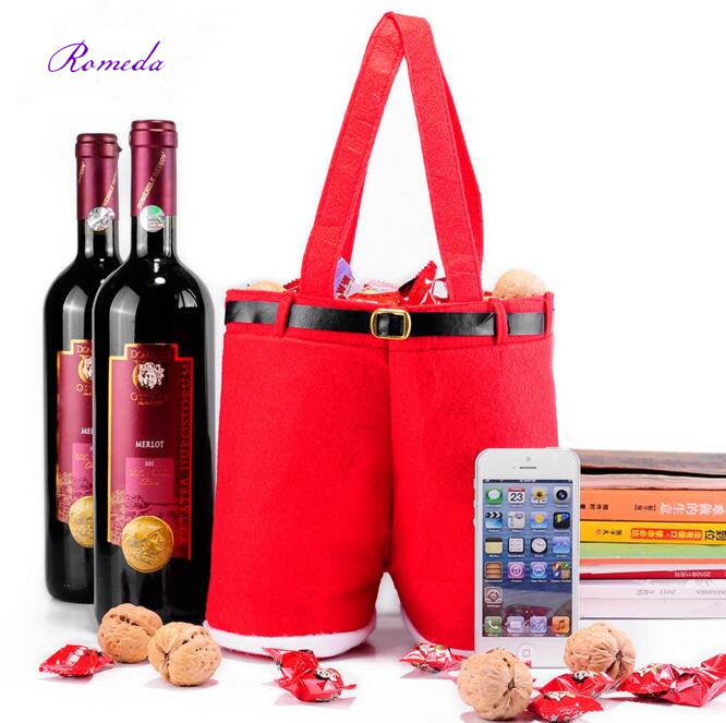 1pc New Style 2016 Fashion Merry Christmas Gift Treat Candy Bag Santa Claus font b Suspender