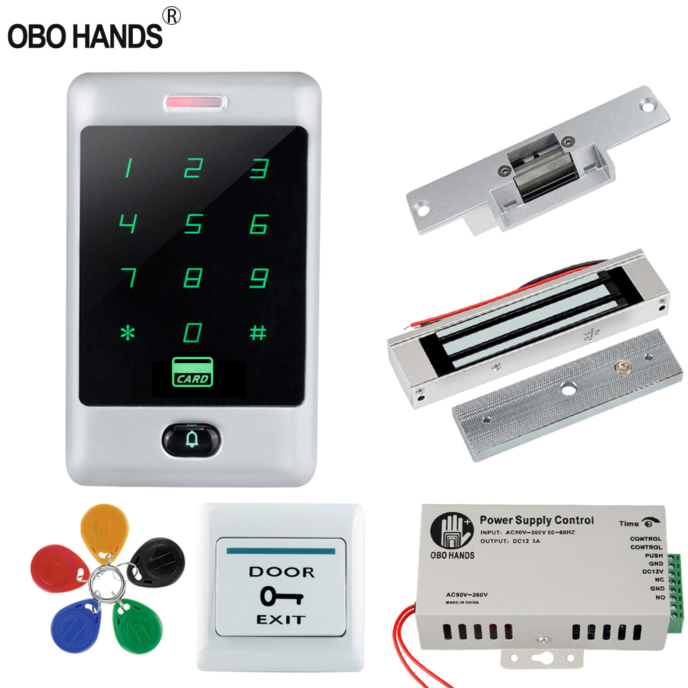 Home Door Lock System Access Control Kit set 125KHz RFID Keypad Metal Touch Card Reader with Electric Locks 8000 Users WG26/34 10 pcs waterproof card reader for rfid tivdio 125khz low working temperature access control with wg26 home security f1691a