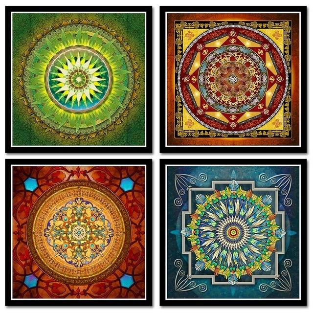 Tibetan Thangka Mandala Paintings Sticker Buddha Art Wall Picture Home Decor Culture Spiritual Canvas Painting Religion