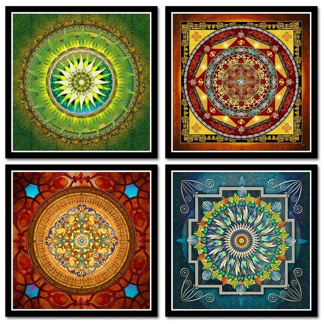 Tibetana Thangka Mandala Pinturas Etiqueta Buda Arte Pared Imagen - Pinturas-de-mandalas