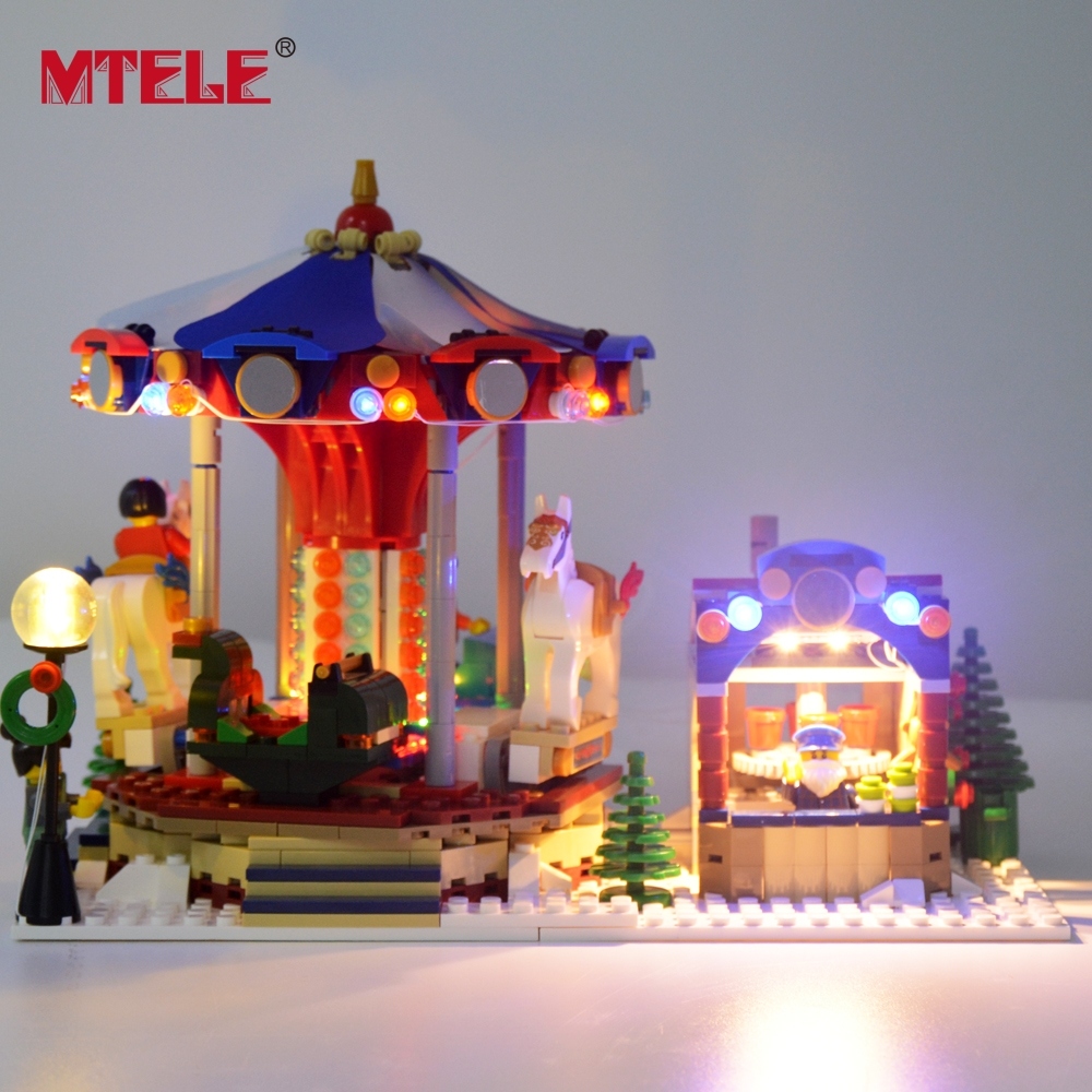 Image 5 - MTELE Led Flash Light Set For Christmas Series Winter Village Market Building Blocks Toy Compatible With Model 10235-in Blocks from Toys & Hobbies