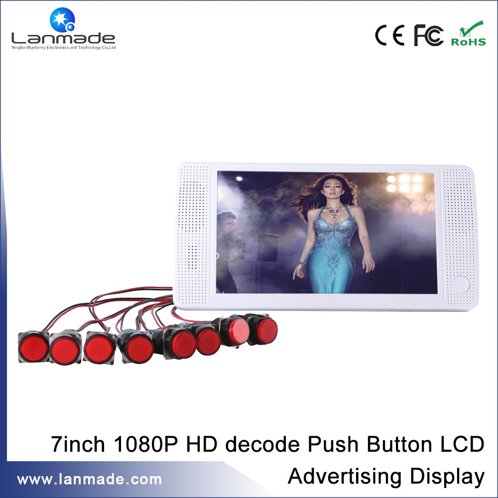 Guaranteed 100% Real Supplier Hot Speedy Delivery 7 inch store shelf external push button video player advertising monitor