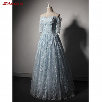 Sky Blue Long Lace Evening Dresses with Sleeves Party Off Shoulder A Line Women Formal Evening Gowns Dresses Wear