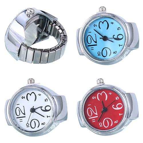 Women's Creative Big Numbers Mini Finger Ring Watch Elastic Band Quartz Watch